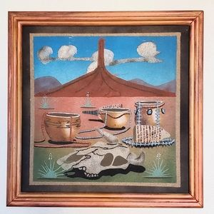 Vintage 1990s Navajo sand painting, signed